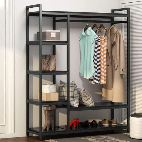 Free -Standing Closet Organizer Storage Shelves and Hanging Bar