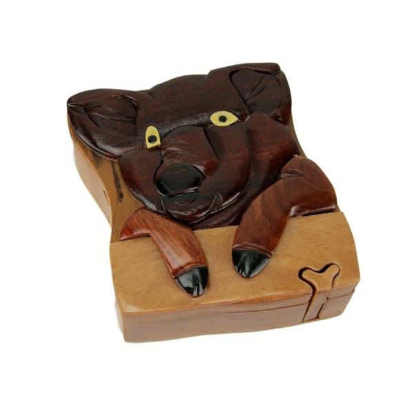 Hand Carved Wood 3D Pig Puzzle Trinket Box - 2.13 X 4.25 X 4.25 inches
