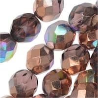Czech Fire Polished Glass, Faceted Round Beads 8mm, 20 Pieces, Light Amethyst Copper Rainbow