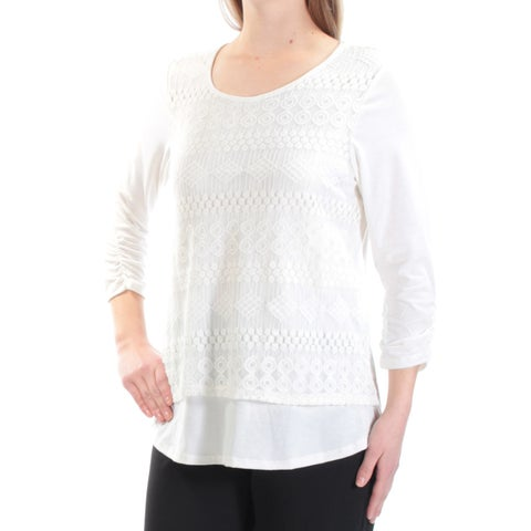 NY COLLECTION Womens Ivory Lace Geometric 3/4 Sleeve Jewel Neck Tiered Top Size: M
