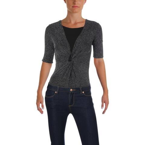 Aqua Womens Bodysuit Metallic Knot-Front