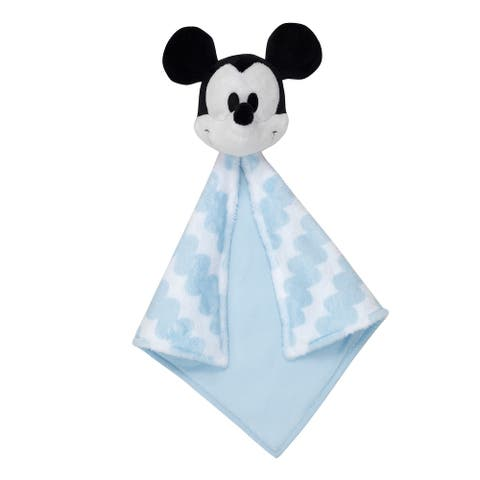 Lambs & Ivy Disney Baby MICKEY MOUSE Lovey Blue/White Plush Security Blanket