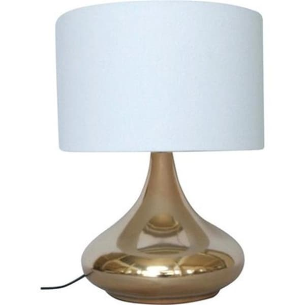 Shop 10 In Base Copper Ceramic Table Lamp Round Base With White