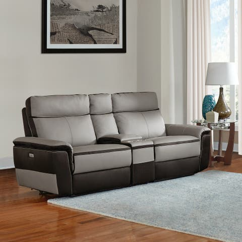 Barberton Leather Power Double Reclining Love Seat with Console