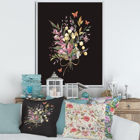 Designart 'Vintage Floral Summer Wildflowers Arrangement' Traditional Framed Canvas Wall Art Print