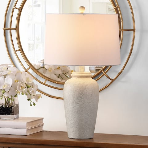 "SAFAVIEH Lighting 26-inch Sabrin Cream LED Table Lamp - 15"" W x 15"" L x 26"" H"