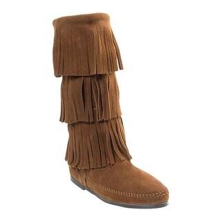 Minnetonka Women's 3 Layer Fringe Boot Dusty Brown Suede
