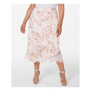 CALVIN KLEIN Womens Pink Floral Midi Ruffled Skirt  Size 22W