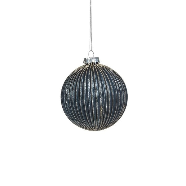 """4"""" Ridged Blue Glass Ball Ornament with Glitter, Set of 6. Opens flyout."""