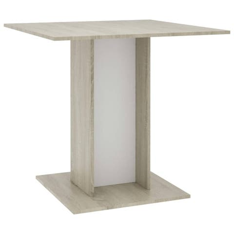 """vidaXL Dining Table White and Sonoma Oak 31.5""""x31.5""""x29.5"""" Chipboard"""