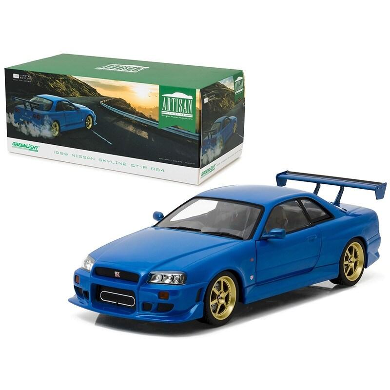 GreenLight Nissan Skyline GTR R34 2002 Blau 29880 1//64