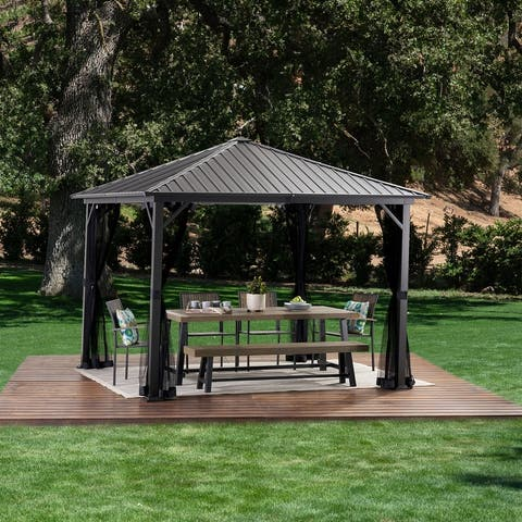 Pablo 10-foot Square Hardtop Aluminum Gazebo by Christopher Knight Home