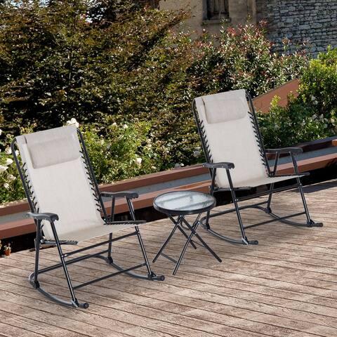 Outsunny 3 Piece Outdoor Rocking Bistro Set, Patio Folding Chair Table Set, Cream White