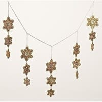 "36"" Gold Glittered Snowflake Swag Garland Christmas Decor"