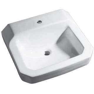 """PROFLO PF5411  19"""" Wall Mounted Bathroom Sink with 1 Hole Drilled - White"""
