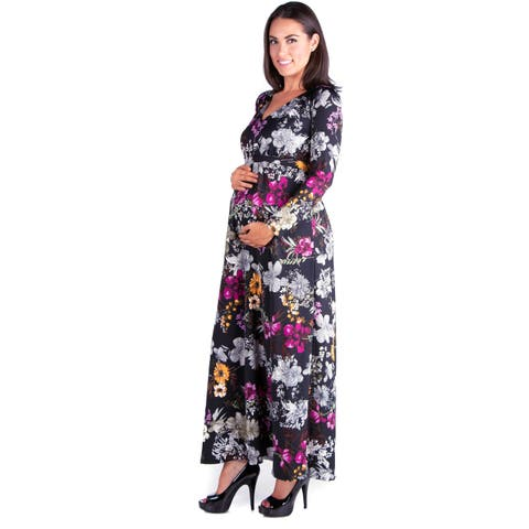 24seven Comfort Apparel Long Sleeve Maternity Maxi Dress