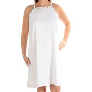 Womens White Spaghetti Strap Above The Knee Shift Casual Dress Size: 16