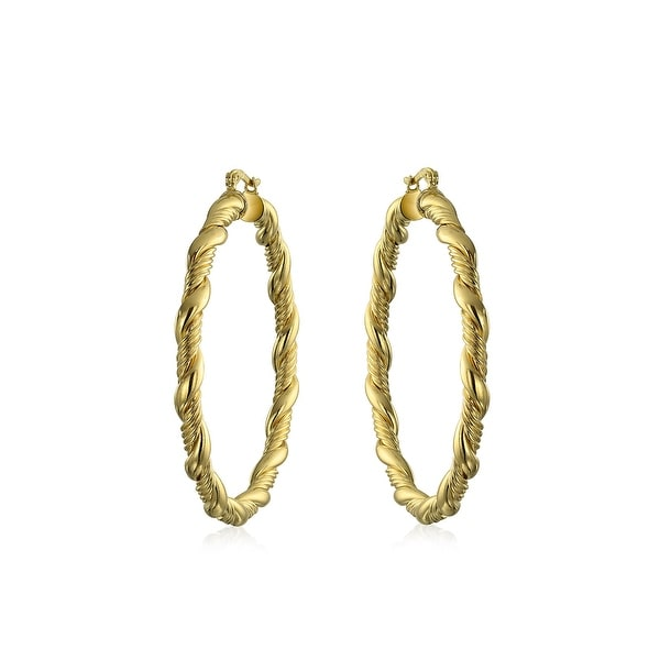 Shop Twisted Cable Rope Braid Hollow Round Large Hoop Earrings 18k Gold  Plated Brass For Women Dia 2.25 Inch - On Sale - Free Shipping On Orders  Over  45 ... 9bcca36d0dd5