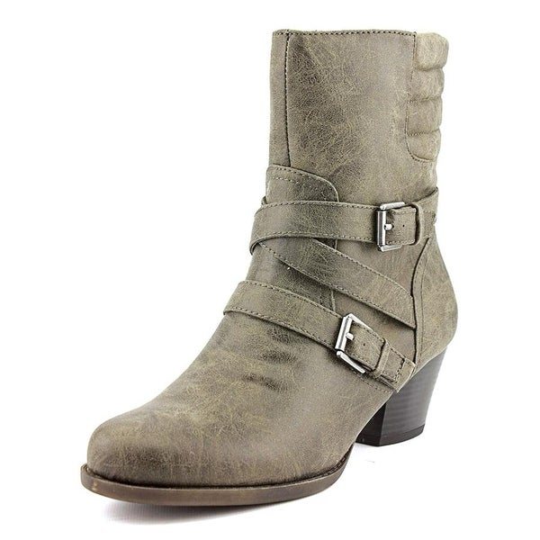 American Living Womens DINORAH Leather Round Toe Ankle Cowboy Boots