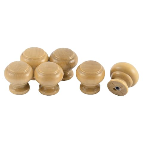 Uxcell 25mm Round Head Drawer Cupboard Door Handle Grip Wooden Pull Knob 6pcs