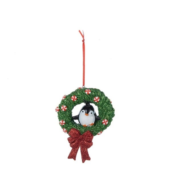 "3.75"" Peppermint Twist Penguin on Glitter Wreath Decorative Christmas Ornament - RED"