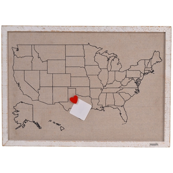 "27.75"" Brown and Red US Map Wall Decor with Magnetic Heart - N/A"