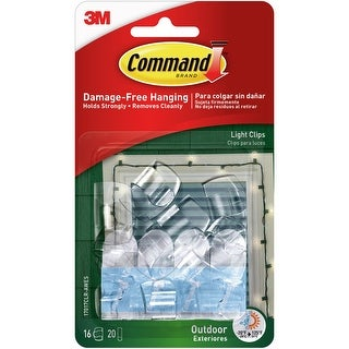 Command Outdoor Light Clip 16/Pkg-16 Clear Clips & 20 Strips