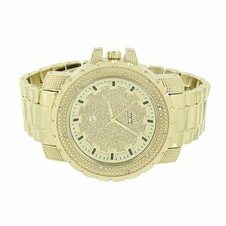 Mens Gold Tone Watch Techno Pave Illusion Dial Stainless Steel Back Analog Display Quartz Movement