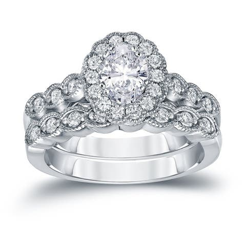 Auriya 14k Gold 1 3/5ctw Vintage Oval Halo Diamond Engagement Ring Set Certified