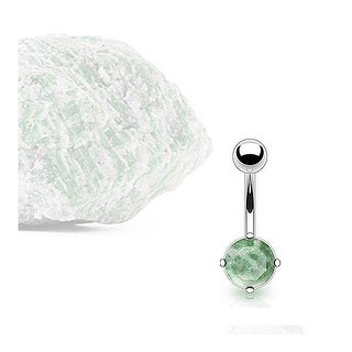 Stainless Steel Prong-Set Amazonite Semi Precious Stone Navel Belly Button Ring