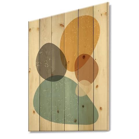 Designart 'Minimal Elementary Organic And Geometric Compostions XIV' Modern Print on Natural Pine Wood