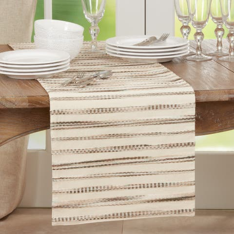 Table Runner With Stripe Weave Design
