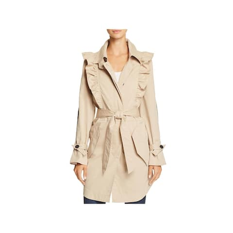 Joie Womens Gila Trench Coat Spring Ruffled - M