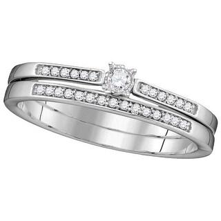 1/8Ctw Diamond Fashion Bridal Set 10K White-Gold - White I-J