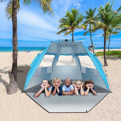 Fiberglass Pole Oxford Cloth Quick-Open Free Ride Beach Tent