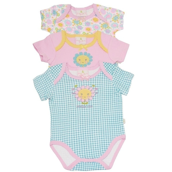 Duck Duck Goose Baby Girls Blue Pastel Checker Flower 3 Pc Bodysuit Set