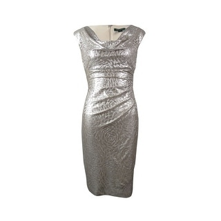 Ralph Lauren Women's Cowl Ruched Metallic Sheath Dress