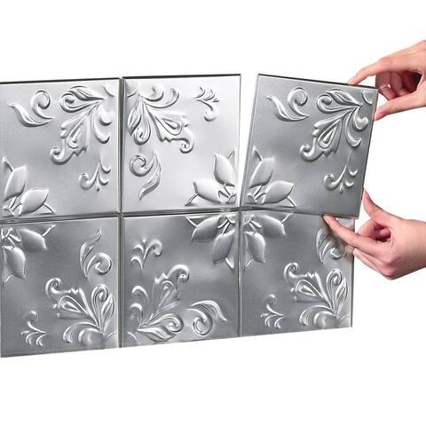 Tin Peel & Stick Raised Floral Pattern Wall Tiles Set Of 16