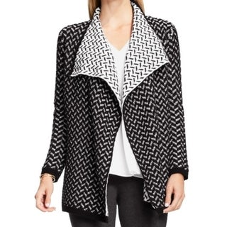 Vince Camuto NEW Black White Womens Size 2XS Open Front Cardigan Sweater