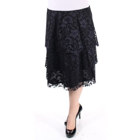 MSK Womens Black lace Above The Knee Layered Skirt Size: S