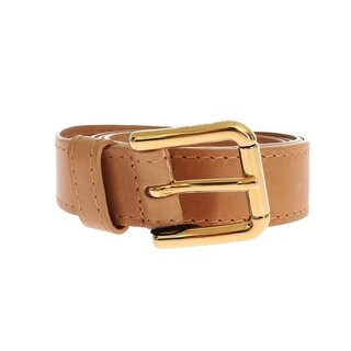 Dolce & Gabbana Brown Leather Gold Buckle Logo Belt - 75-cm-30-inches