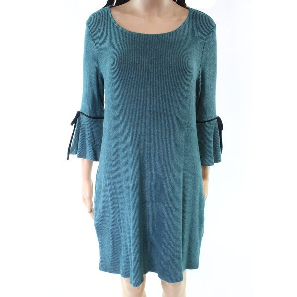 BCX Blue Womens Size Large L Scoop Neck Bell Sleeve Sweater Dress