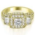 1.75 cttw. 14K Yellow Gold 3-Stone Princess & Trapezoid Diamond Engagement Ring - Thumbnail 0