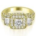 2.00 cttw. 14K Yellow Gold 3-Stone Princess & Trapezoid Diamond Engagement Ring - Thumbnail 0