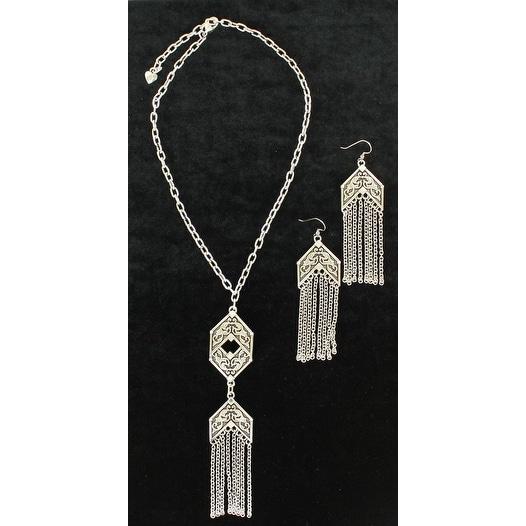 Blazin Roxx Jewelry Womens Necklace Earrings Fringe Silver 29096