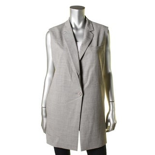 DKNY Womens Wool Notch Collar Vest - L