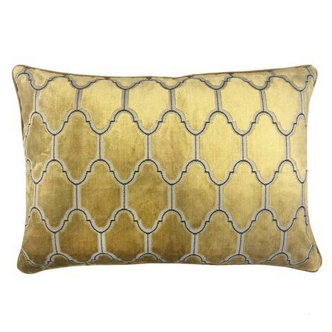 Rodeo Home Alaya Luxury Cut Velvet Rectangular Lumbar Pillow
