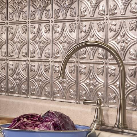 Fasade Traditional Style #1 Crosshatch Silver 15-square Foot Backsplash Kit