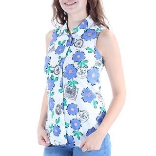 Womens White Floral Sleeveless Collared Button Up Top Size 2XS