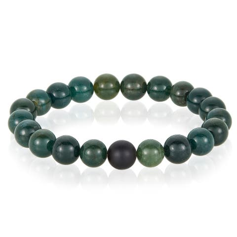 Men's Agate and Matte Onyx Stone Beaded Stretch Bracelet (10mm)